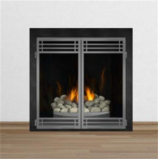 Hd Gas Fireplace With River Rock Burner And Optional Door Set