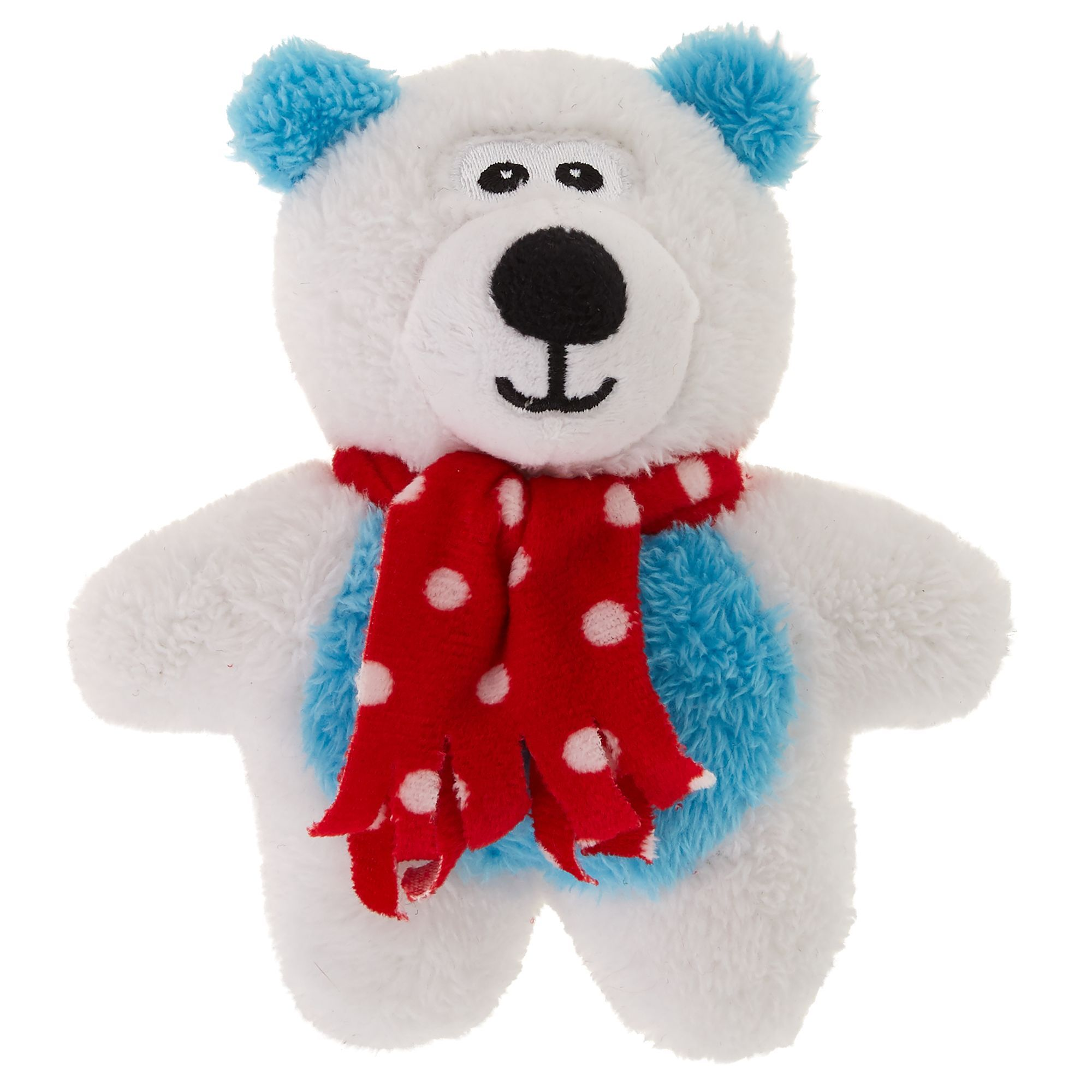 Merry And Bright Holiday Polar Bear Dog Toy Plush Squeaker