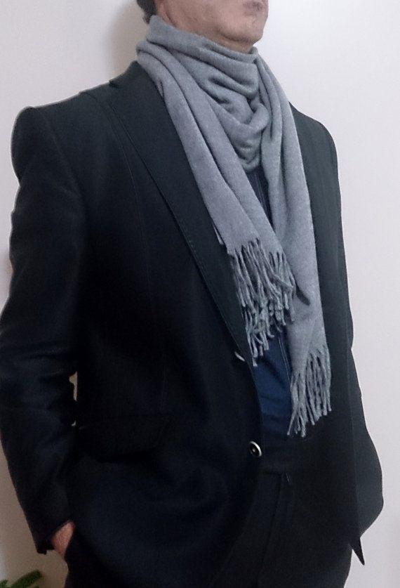 Gray blanket scarf boyfriend gift solid wide blanket scarf wooly