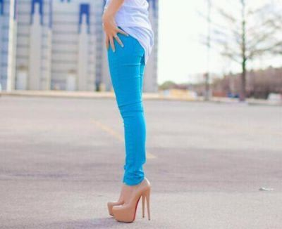 blue jeans and nude heels