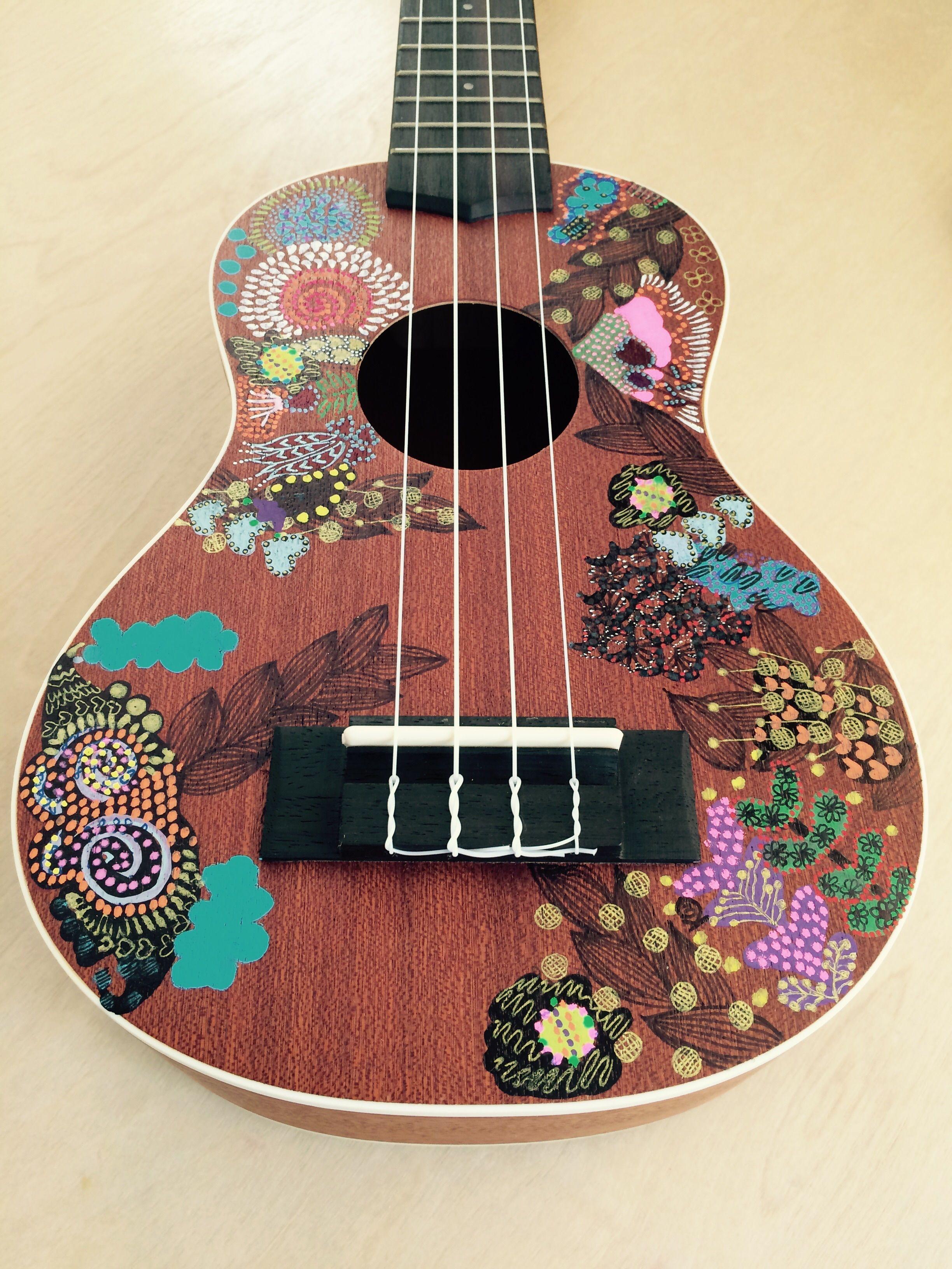 Flower Power Quot Hand Painted Ukulele Felt Painted Ukulele Ukulele Design Ukulele Art
