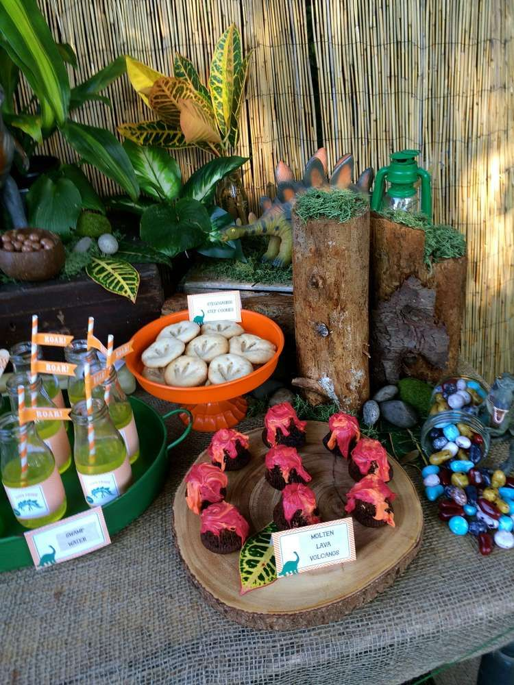 Themed treats at a dinosaur birthday party!  See more party planning ideas at CatchMyParty.com!