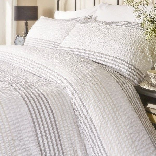 Grey Stripe Seersucker Duvet Cover Set Home Pinterest