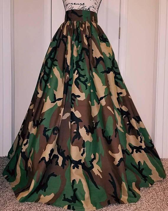ea969089569 Camo Camouflage High Waisted Maxi Skirt / Camo Maxi Skirt Cotton Maxi  Skirts, Camo Print