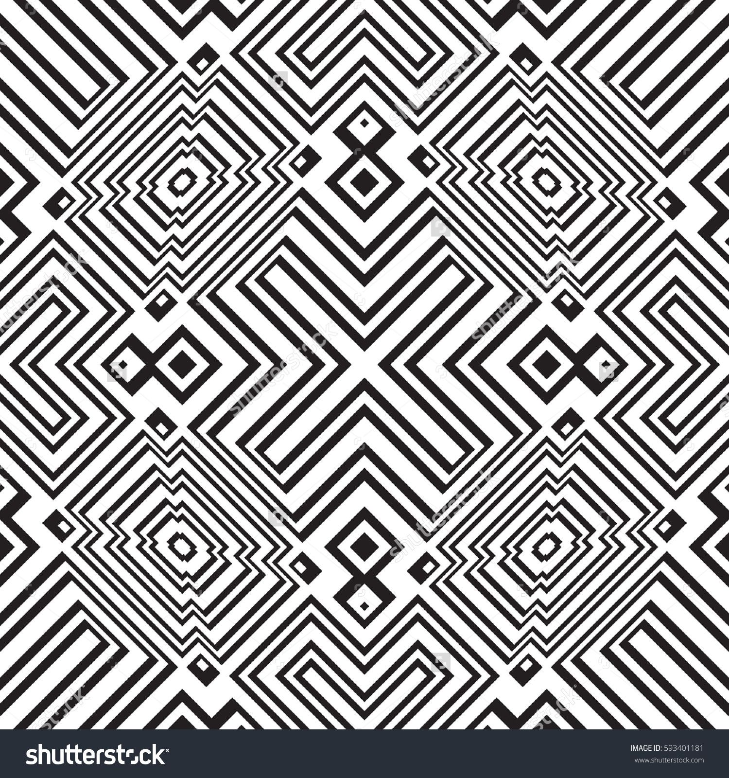 Black And White Geometric Seamless Pattern Simple Regular Background Vector