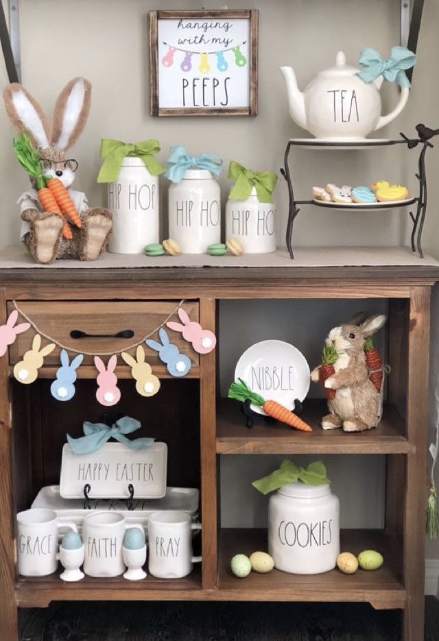 Rae Dunn Easter Display Spring Easter Decor Rustic Easter Decor Easter Crafts