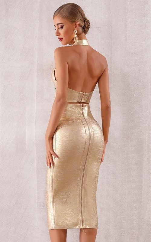 2019 Women Sexy Dress Two Piece Backless Cocktail Dress #backlesscocktaildress 2019 Women sexy Dress two Piece backless cocktail Dress  Color: Gold Size: XS,S,M,L Material: 97% Polyester, 3% Spandex  Features:  Simple and Sexy design makes you look young Casual style suitable for outdoor activities #backlesscocktaildress