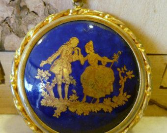 Cobalt blue cut glass and brass early 1900/'s estate necklace