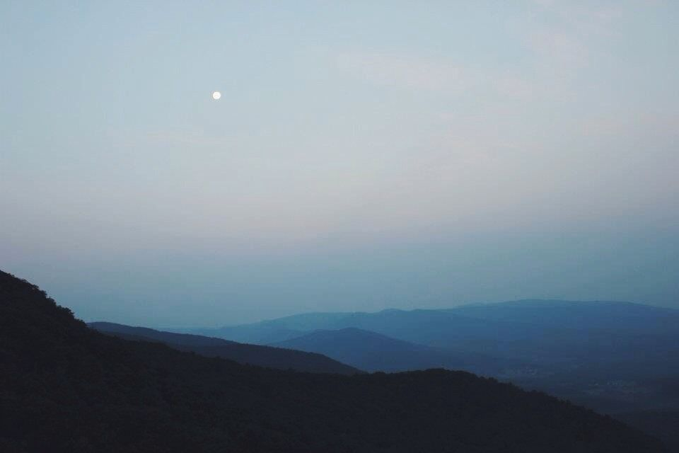 the moon and my blue ridge mountains