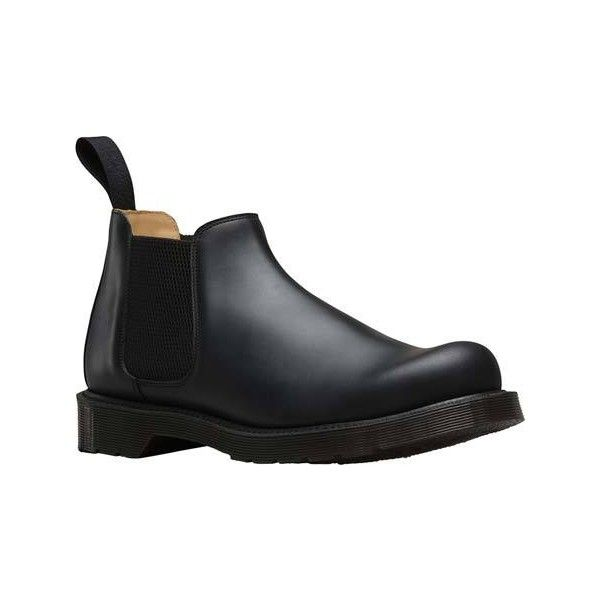 Men's Dr. Martens Cromwell Low Chelsea Boot - Black Polished Finioil...  ($160) ❤ liked on Polyvore featuring men's fashion, men's shoes, men's boots,  ...