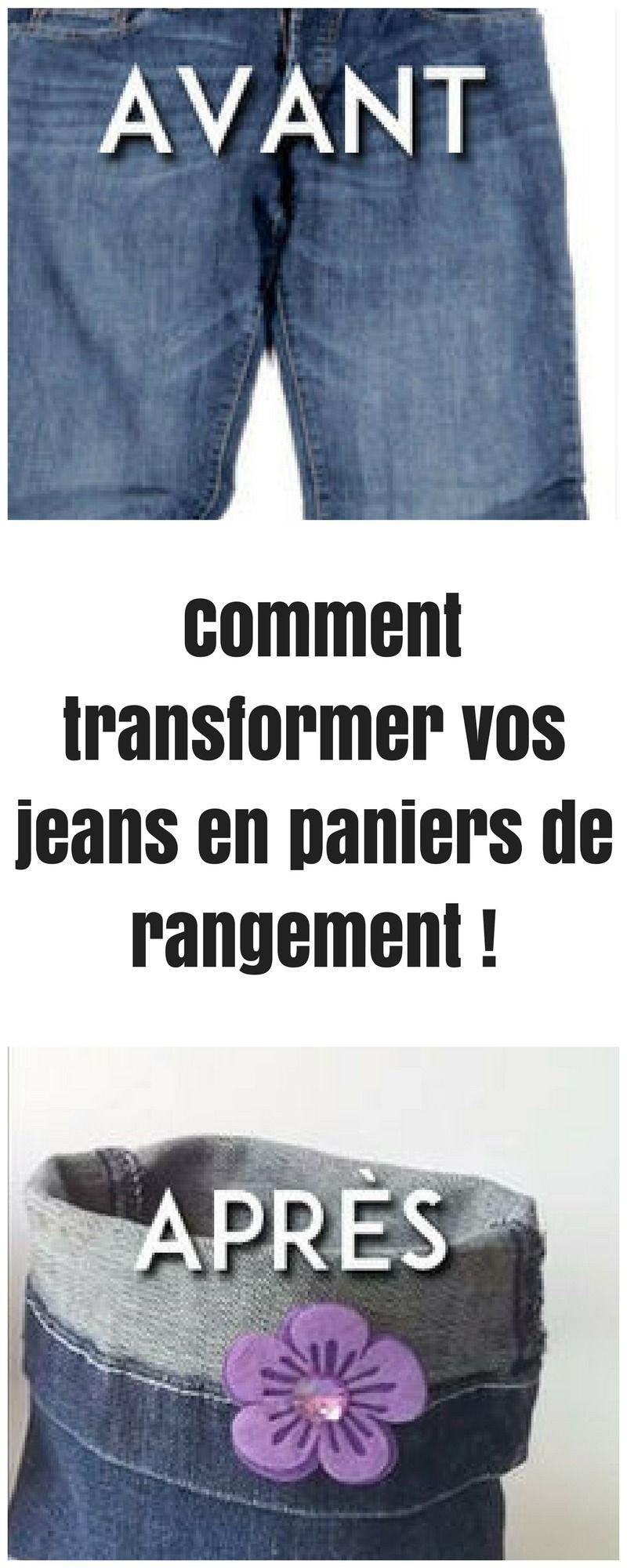 Voici comment vos vieux jeans, peuvent être transformer en paniers de rangement !