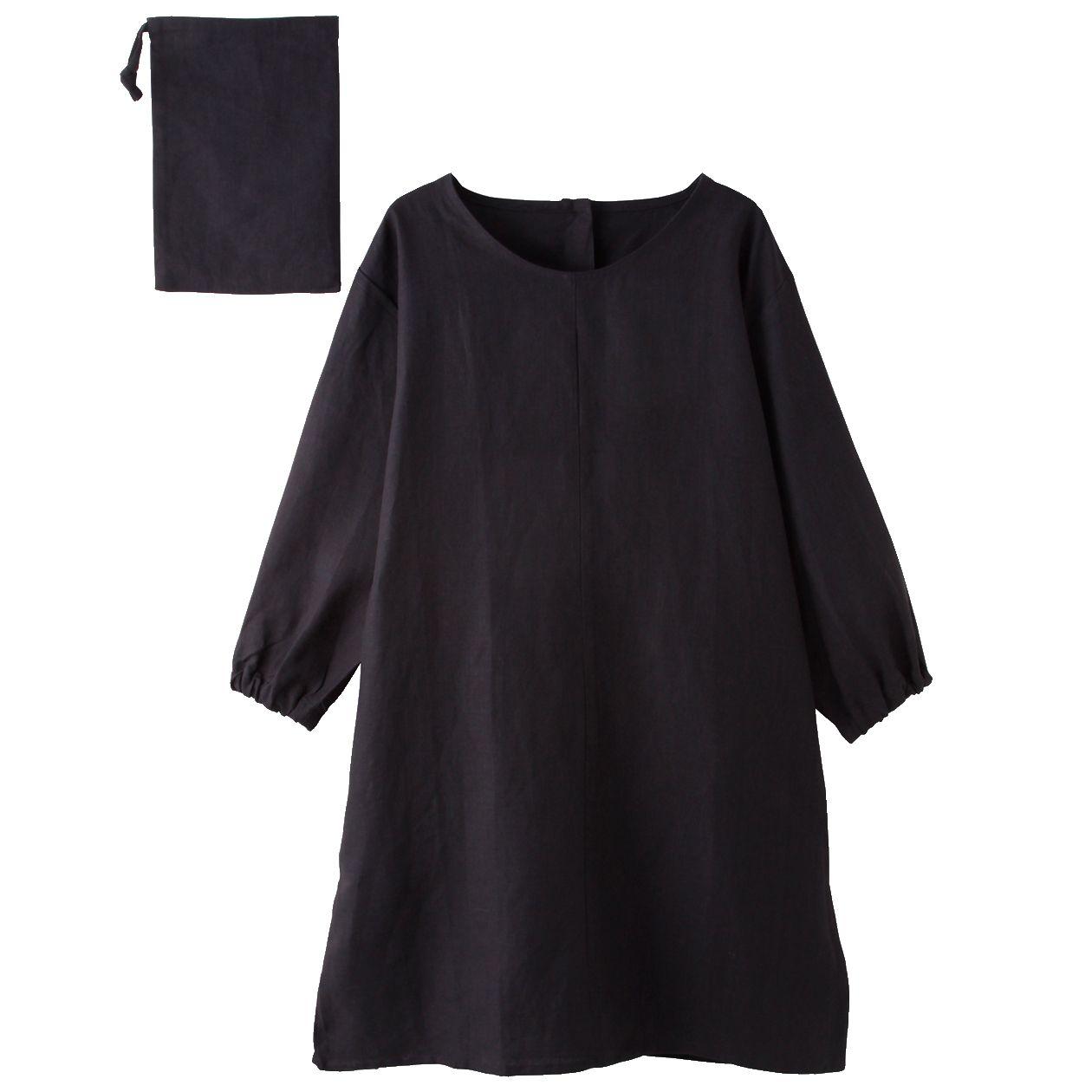 麻平織 割烹着 墨黒 身丈約90cm・巾着付 | 無印良品ネット
