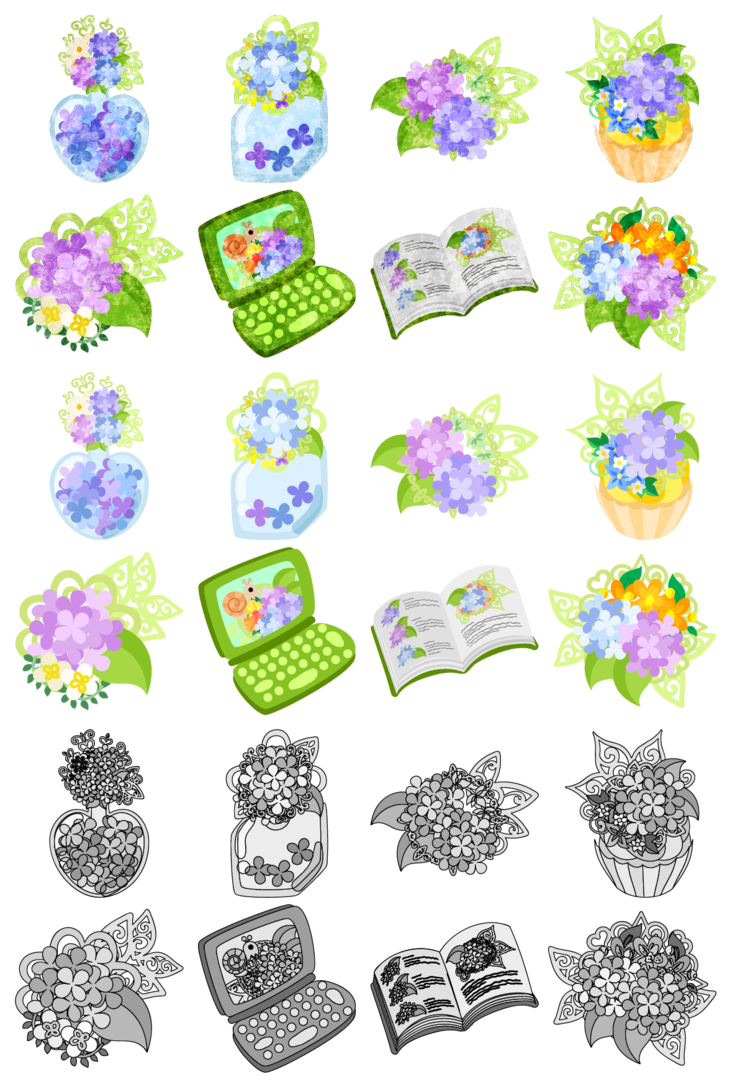 フリーのアイコン素材「おしゃれな紫陽花の雑貨 / icons of hydrangea