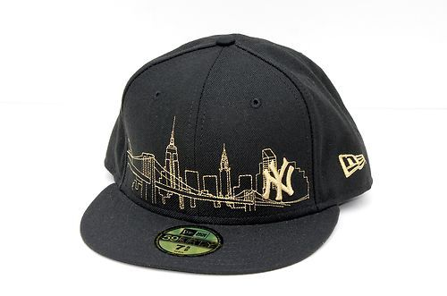 feafe6a6446 New Era 59Fifty 50 NY Yankees Skyline Black Gold Fitted Hat Cap USA Wool New