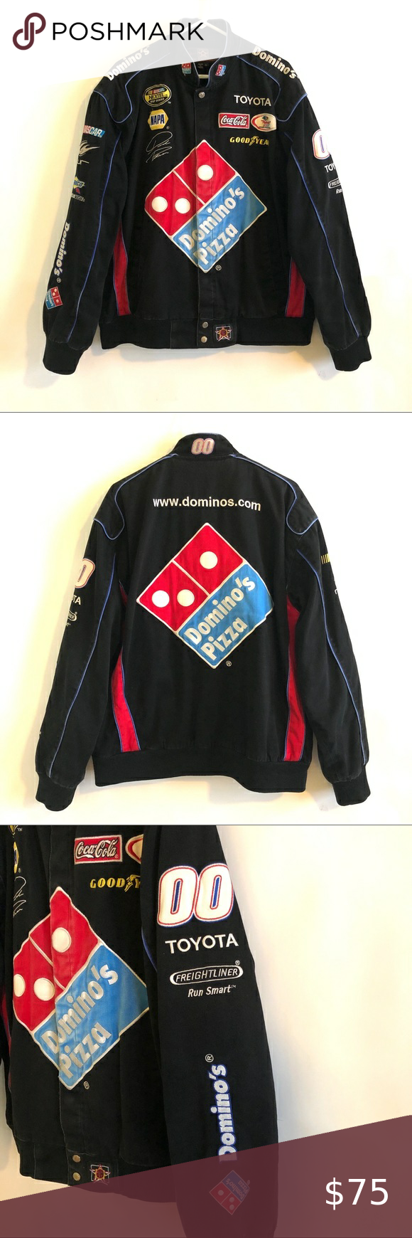 Nascar David Reutimann #00 Dominos Jacket Nascar David Reutimann #00 Dominos jacket by JH Design. Size Large. Embroidered logos of sponsors. Interior pockets. Some fading on front Dominos patch. Please see photos for details. Jackets & Coats