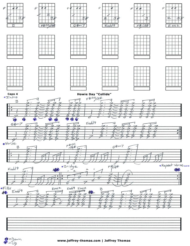 Howie Day Collide Guitar Tab By Jeffrey Thomas Free Guitar Tab For