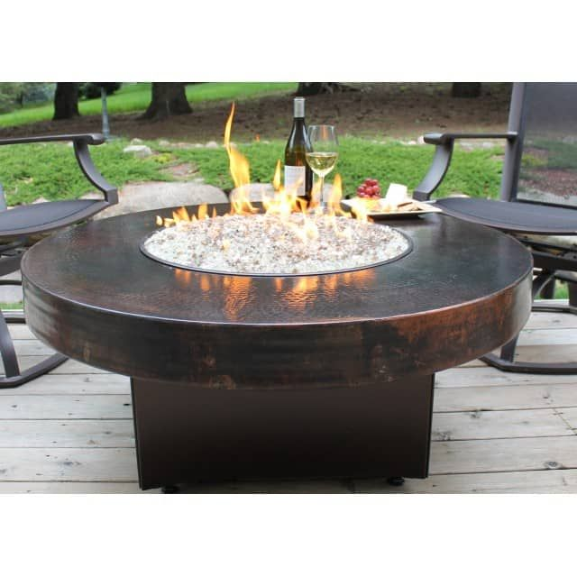 Oriflamme Gas Fire Pit Table Hammered Copper Somber Gas Fire Pit