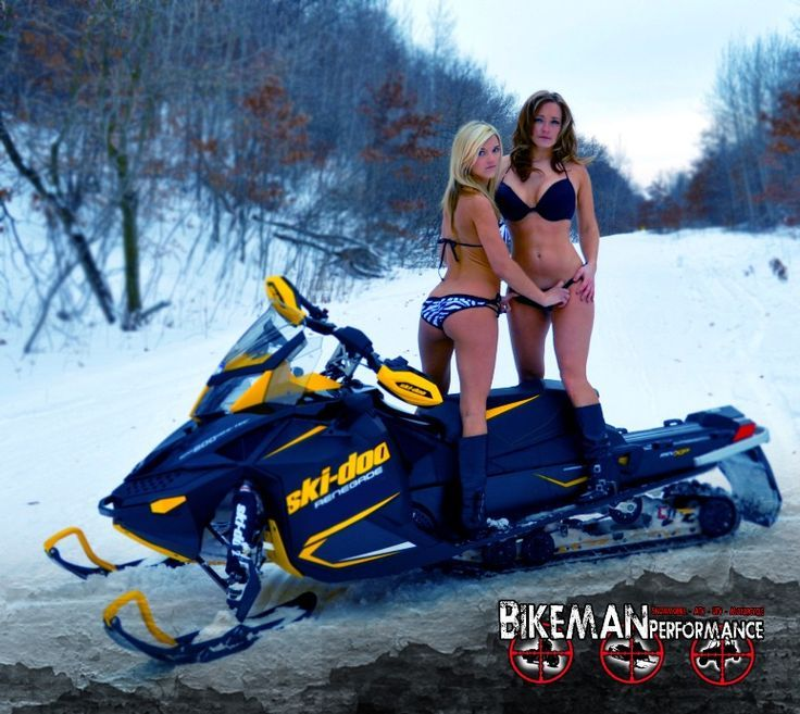 Sexy nude girls on snowmobile — img 15