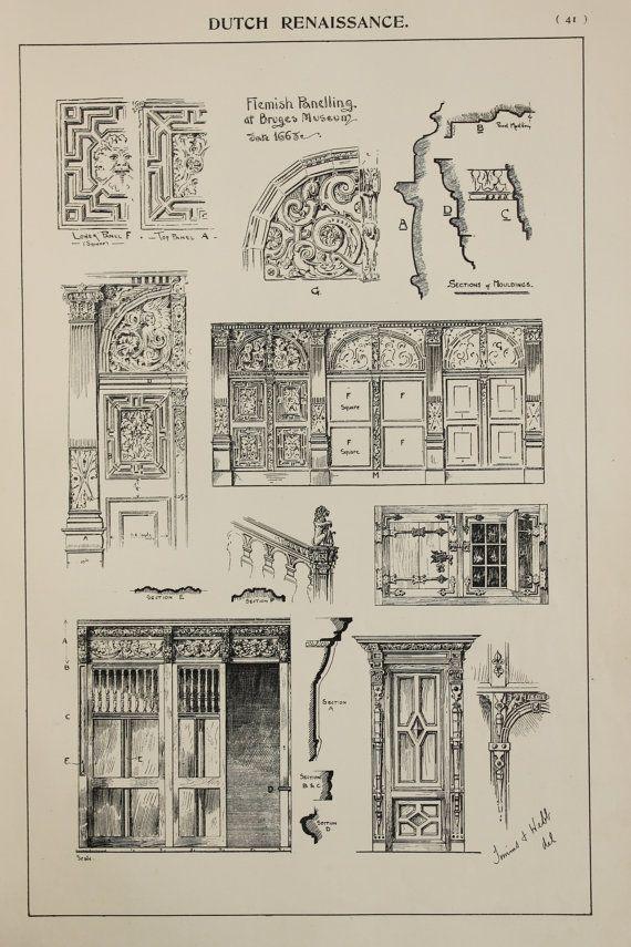Photo of Artikel ähnlich wie Dutch Renaissance Furniture Designs, Large 1904 Antique Black & White Print, Innenarchitektur, Kunsthandwerk auf Etsy