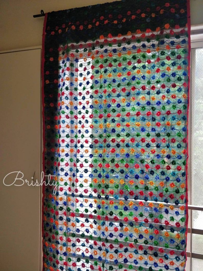 Boho Hand Embroidered Floral Sheer Curtain Panel Bohemian Etsy