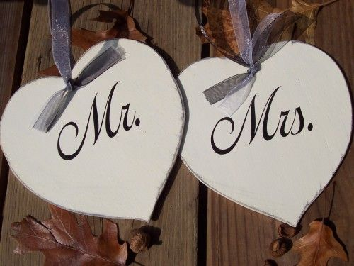 Mr And Mrs Whimsical Wedding Chair Heart Wood Vinyl Signs