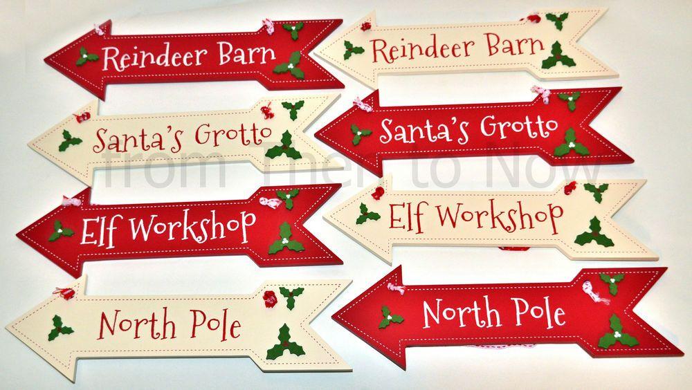 Set of 4 Winter Wonderland Christmas Decoration Arrows Signs