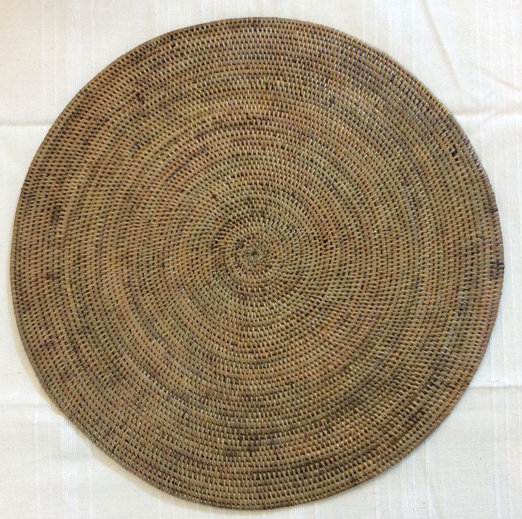 Round Woven Placemat From Indonesia Surroundingshouston Woven Placemats Placemats Basket Weaving Diy