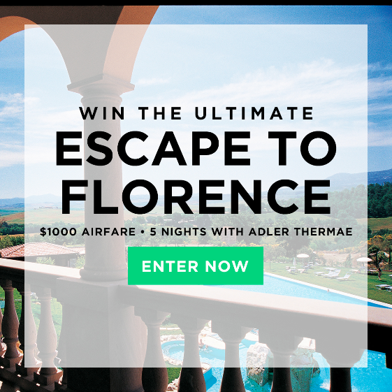 Win the ultimate escape to Florence! End June 22, 2015 at 11:59PM EST.