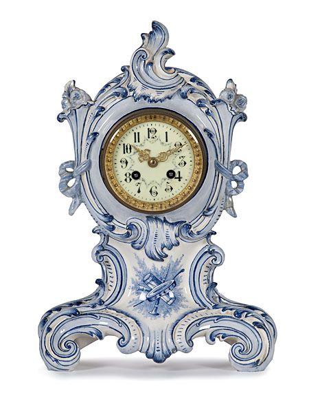 Continental Blue And White Mantel Clock Cowan S Auctions White Mantel Clocks Clock White Clocks