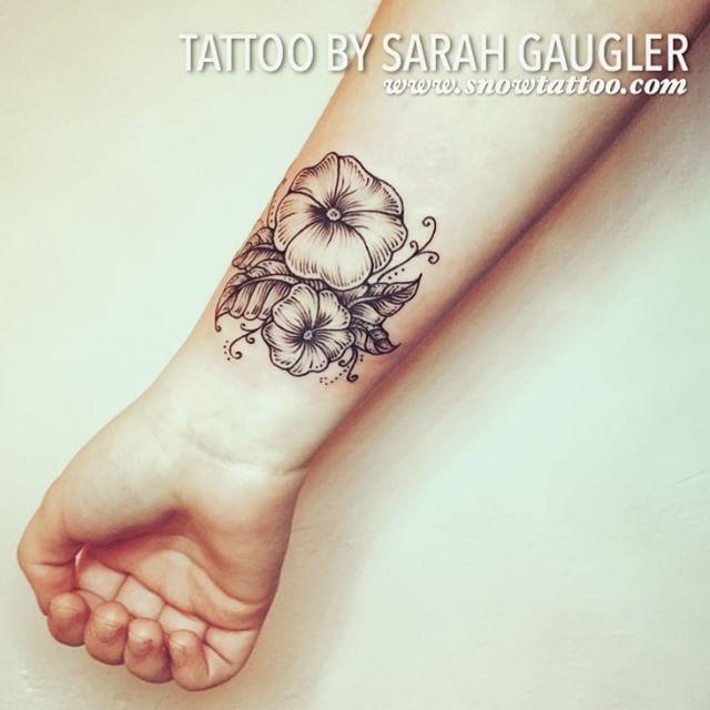 Black Petunia Tattoos Custom Designed Petunia Line Art Detailed Dotwork Designed Jewelry Petunia Tattoo Tattoos Black Ink Tattoos