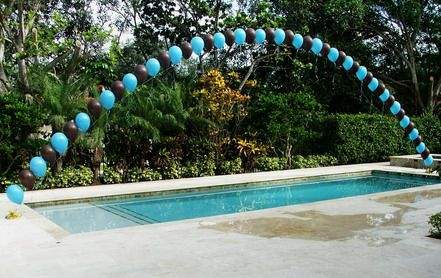 Balloon arch over pool