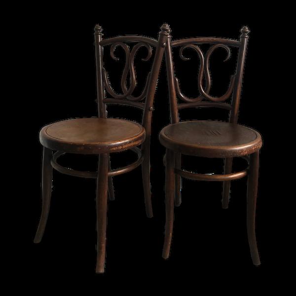 Paire de chaises de bistrot en bois courbé antique   – Products