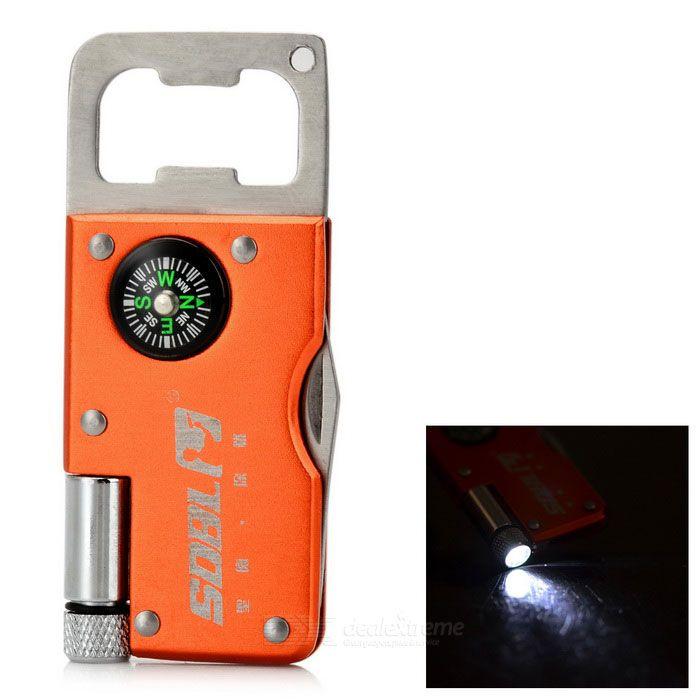 SDBL Multifunction Keyring + LED Light + Knife + Bottle Opener + Compass - Orange + Silver. Color Orange + Silv
