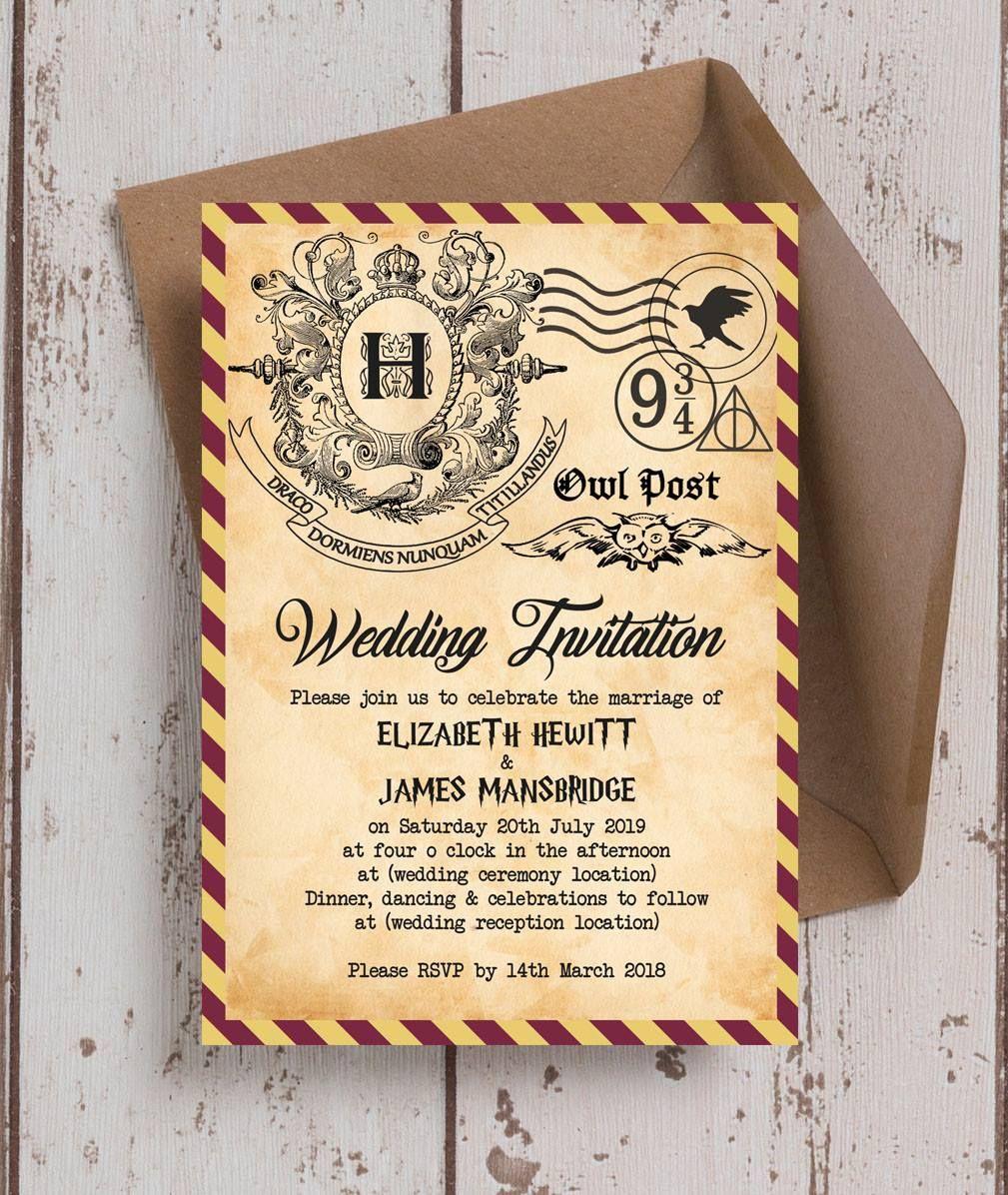 Amazing Harry Potter themed wedding invitations. 5\