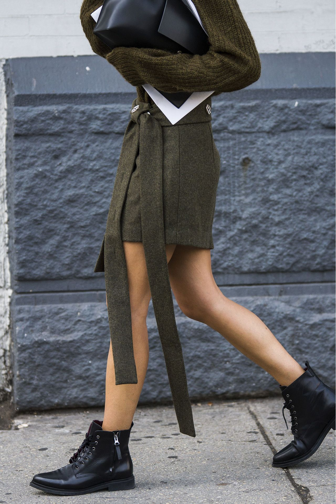 Kaia Gerber combat boots army inspired style in NYC | Chiko