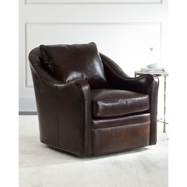Fawn Leather Swivel Chair (¥329,890) ❤ liked on Polyvore featuring home, furniture, chairs, chocolate, leather chair, colored leather chairs, leather swivel chair, handcrafted furniture and dark brown leather furniture