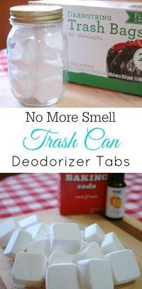 Trash Can Deodorizer Tabs, smelly trash can, baking soda, air freshener, diy, essential oils