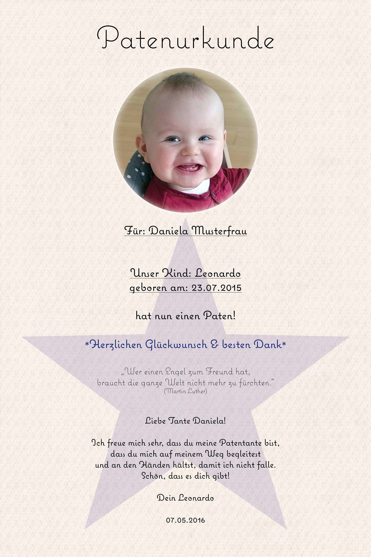 Patenurkunde Ein Geschenk Für Die Paten Zur Taufe Baby