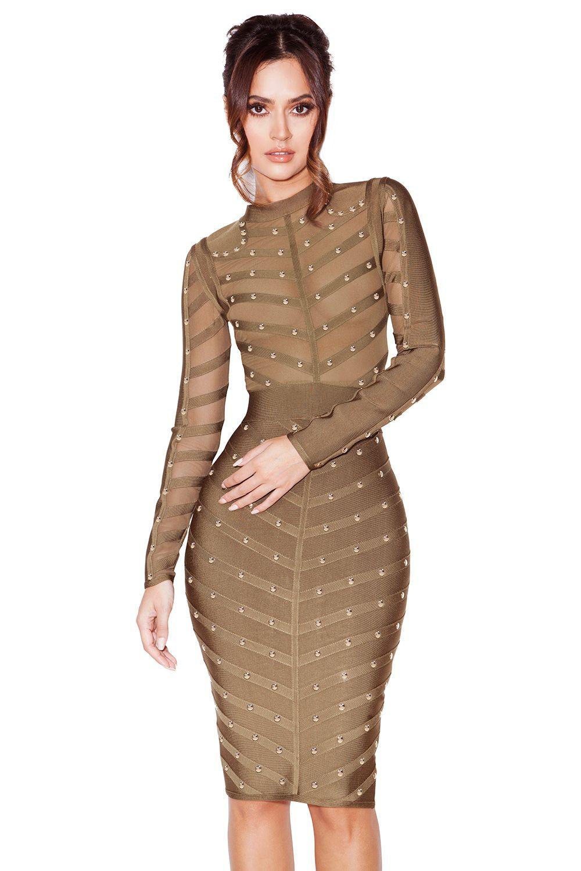 37a98c52666 Clothing   Bandage Dresses    Kaori  Khaki Studded Bandage and Mesh Dress
