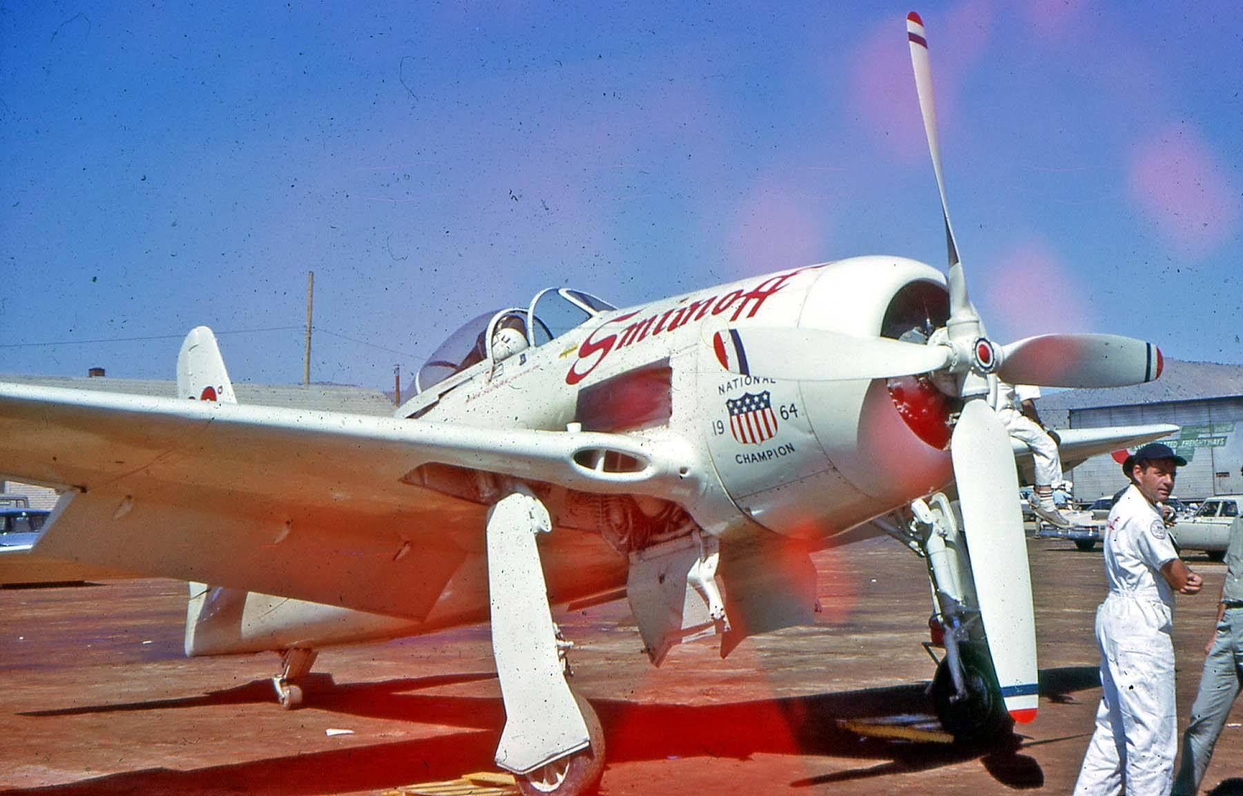 "Reno - 1964 - Unlimited Class - Grumman F8F-2 Bearcat (#80) ""SMIRNOFF"" Mira Slovak Finished 1st (Gold) Speed 355.520 mph"