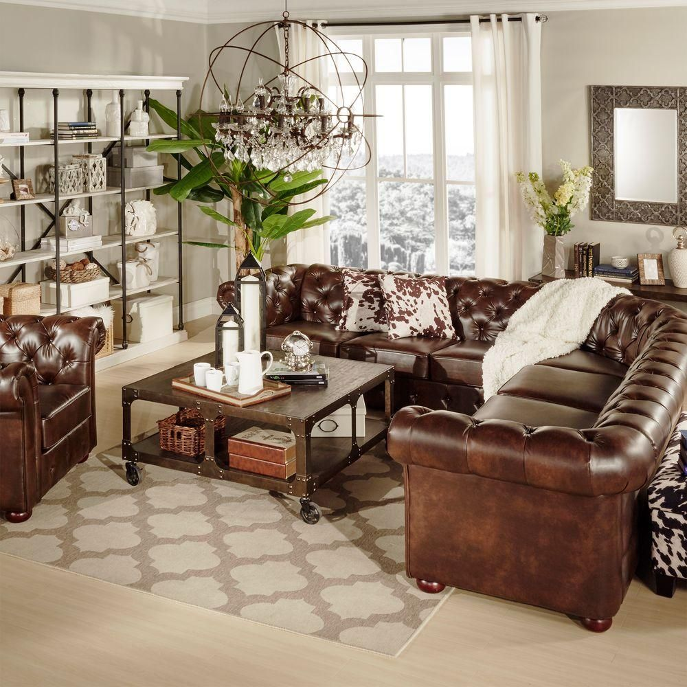 Homesullivan Radcliffe 3 Piece Chocolate Bonded Leather Sectional 40e20 Leather Couches Living Room Leather Sectional Living Room Chesterfield Sofa Living Room