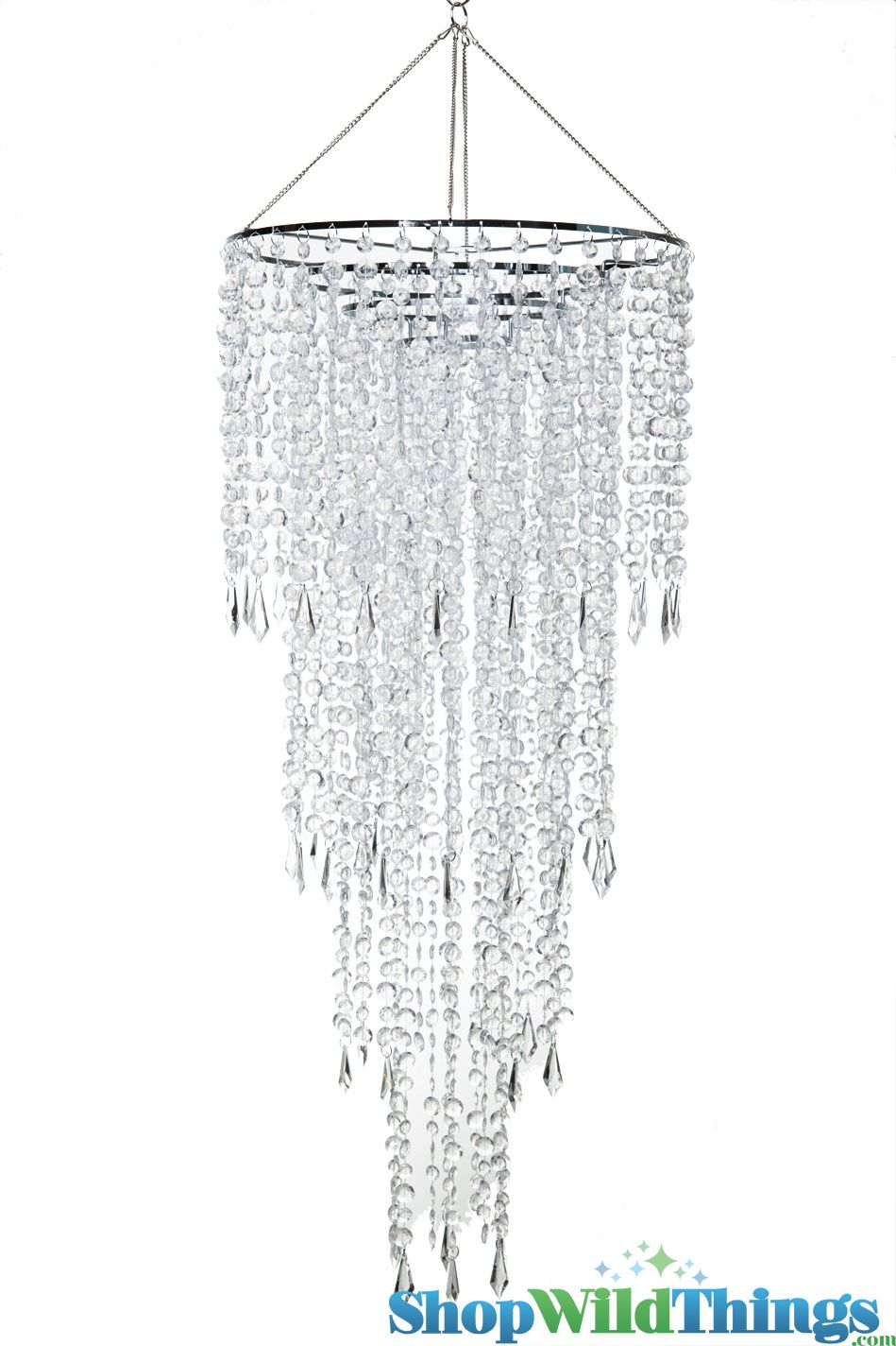 Chandelier fifth avenue 4 tiers clear non iridescent 3 ft long crystal beaded chandelier for parties and events largethis chandelier has 4 tiers of clear glossy beads overall length of the chandelier top of tiers to arubaitofo Images