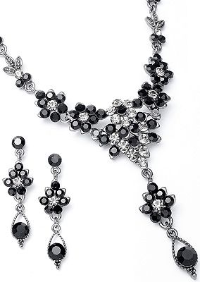 .Cluster of Black Diamond and Jet Austrian Crystal Rounds Set. - s1003blk