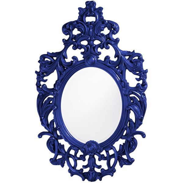 Dot & Bo Baroque Mirror - Royal Blue ($450) ❤ liked on Polyvore featuring home, home decor, mirrors, fillers, frames, decor, ornate mirror, baroque mirror, baroque home decor y royal blue home decor