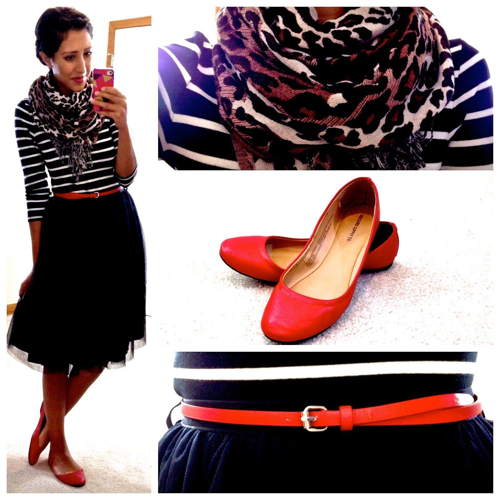 striped shirt, print scarf, black skirt