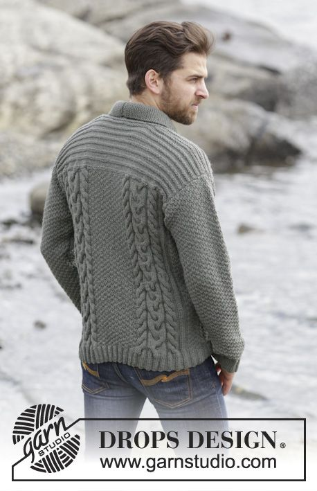 """Knitted DROPS men\'s jacket with cables and shawl collar in """"Lima ..."""