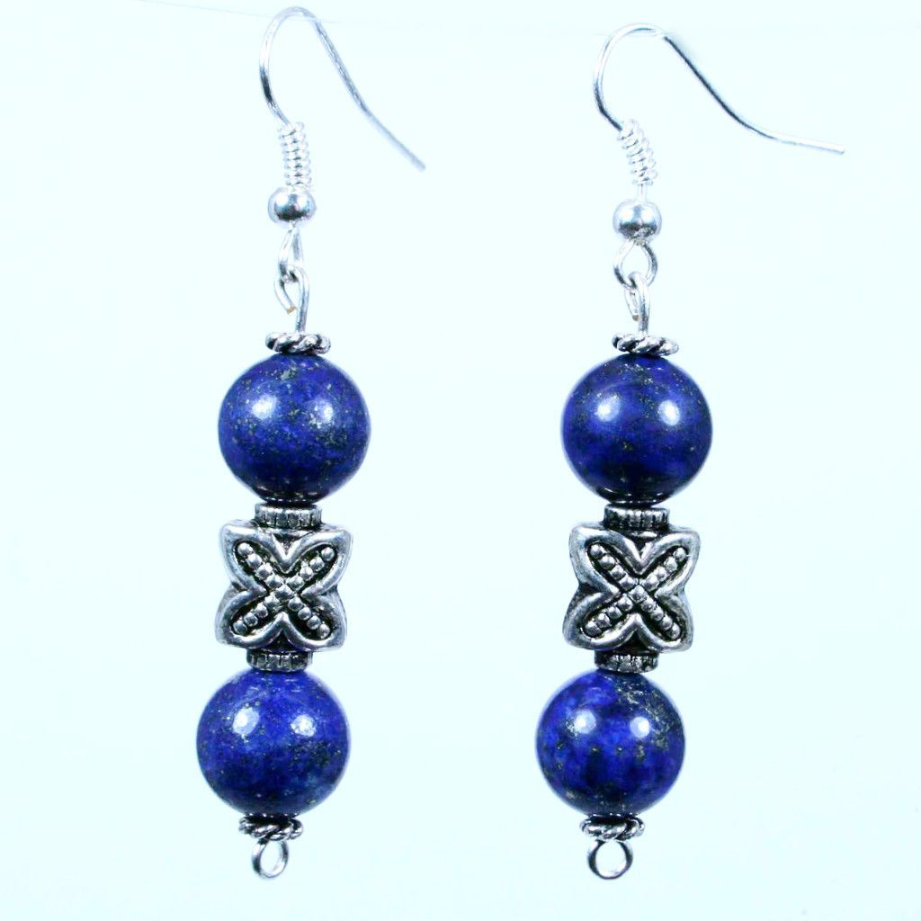Xactly lapis beaded gemstone earrings in mm polished round lapis