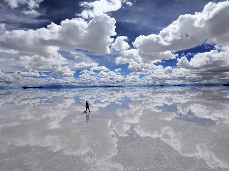 Salar de Uyuni (or Salar de Tunupa) is the world's largest salt flat at 10,582 square kilometers (4,086 sq mi). It is located in the Potosí and Oruro departments in southwest Bolivia