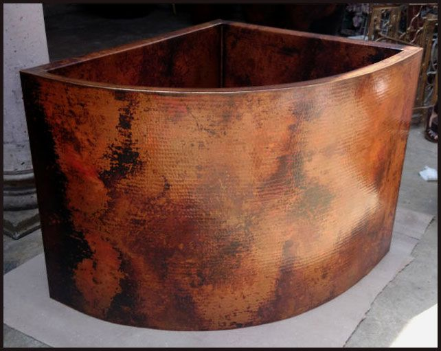 Hammered Copper Japanese Soaking Tub Double Walled 42 X 36 X 34