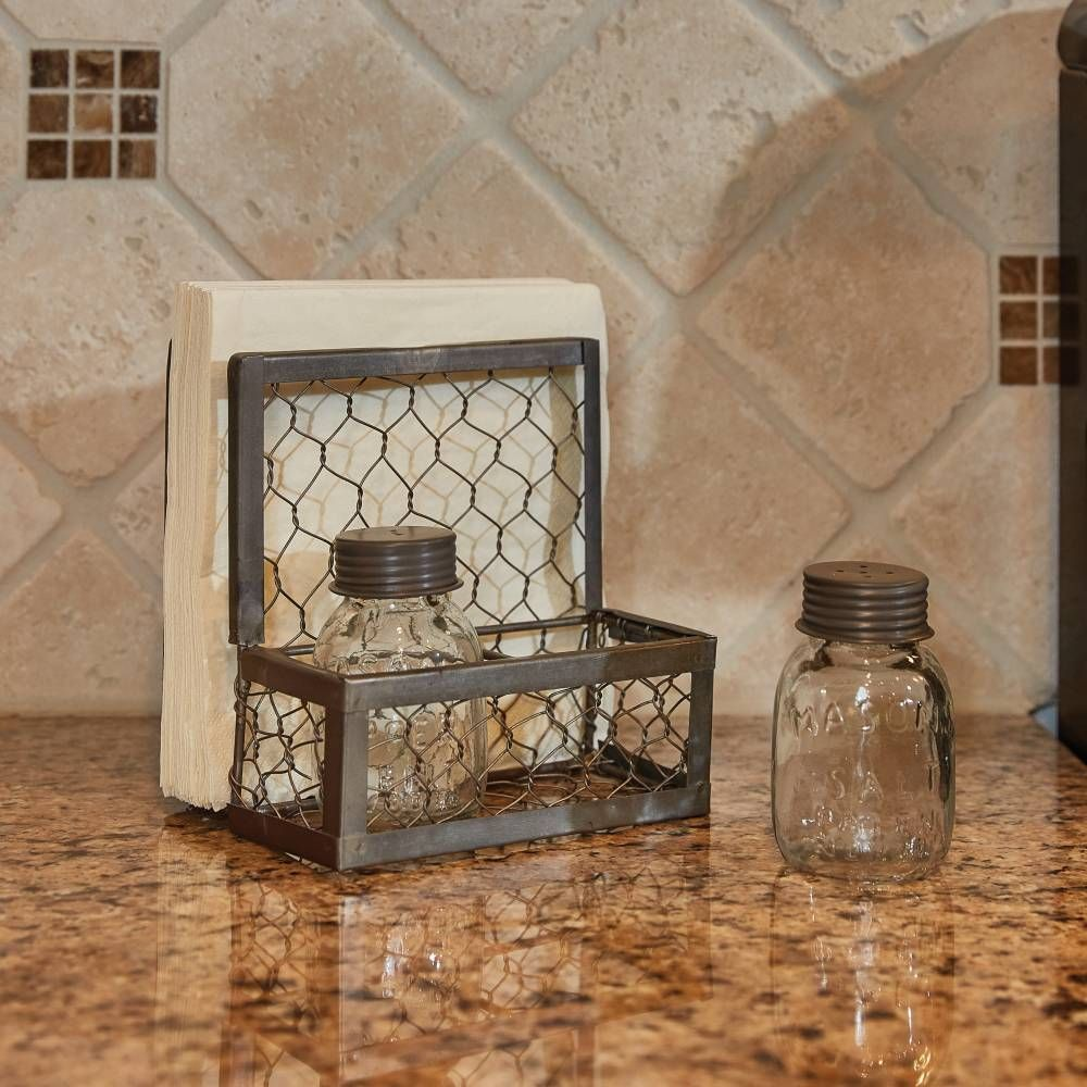 Rust//Green Primitive Farmhouse Metal Napkin Holder with Wooden Handle